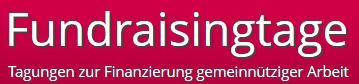 Text auf rotem Grund: Fundraisingtage - Tagung zur Finanzierung gemeinnütziger Arbeit