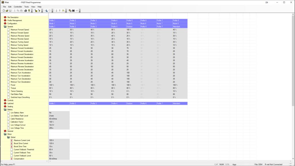 Screenshot einer Software-Oberfläche im Stil eines Tabellenprogrammes.